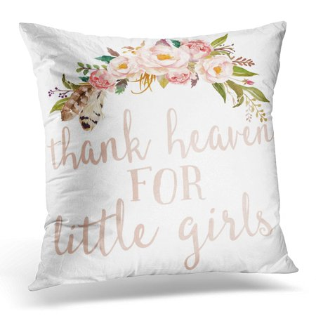 Bosom Baby Pillow - STOAG Floral Blush Boho Thank Heaven for Little Nursery Watercolor Baby Throw Pillowcase Cushion Case Cover 16x16 inch
