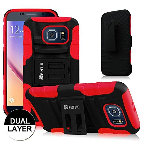 Samsung Galaxy S6 Case - Fintie Dual Layer Holster with Kickstand and Belt Swivel Clip, Black/Red