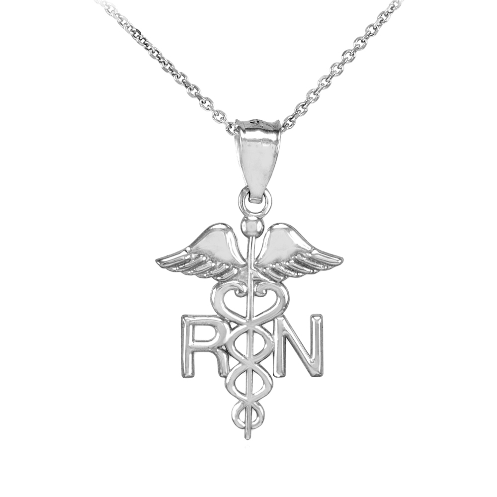 Claddagh Gold White Gold Registered Nurse RN Medical Pend...