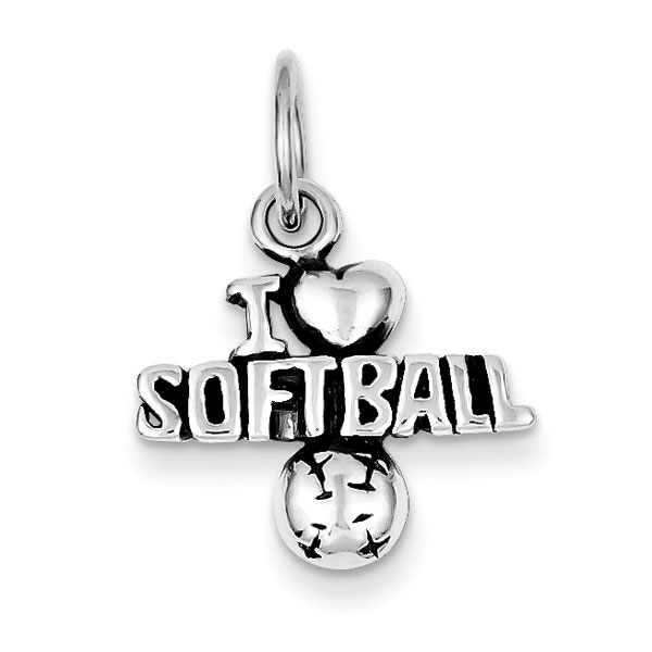 Sterling Silver Antique I (heart) Softball Charm