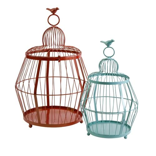 Set of 2 Red Orange and Baby Blue Decorative Bird Cage Basket