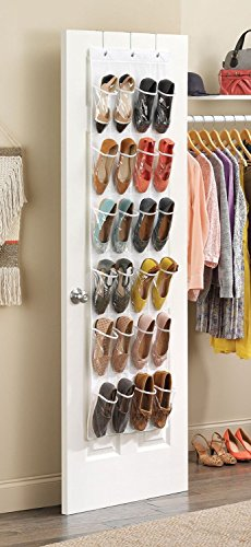 Beau Clear Over The Door Shoe Organizer   24 Stitch Secured Pockets, Hanging  Closet Organizer For Shoes, Socks, Ties, Toiletries And Other Accessories  64u201d ...