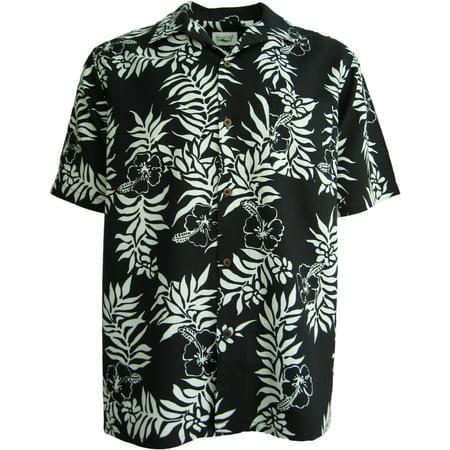 Silk Panel Camp Shirt (Mens 100% Silk Black & White Waffle Weave Hibiscus Hawaiian Camp)