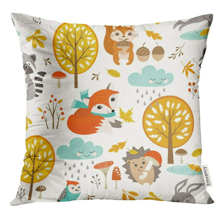 ARHOME Fox Autumn with Cute Woodland Animals Trees Rainy Clouds Mushrooms and Leaves Thanksgiving Pillow Case 18x18 Inches Pillowcase - Woodland Fox