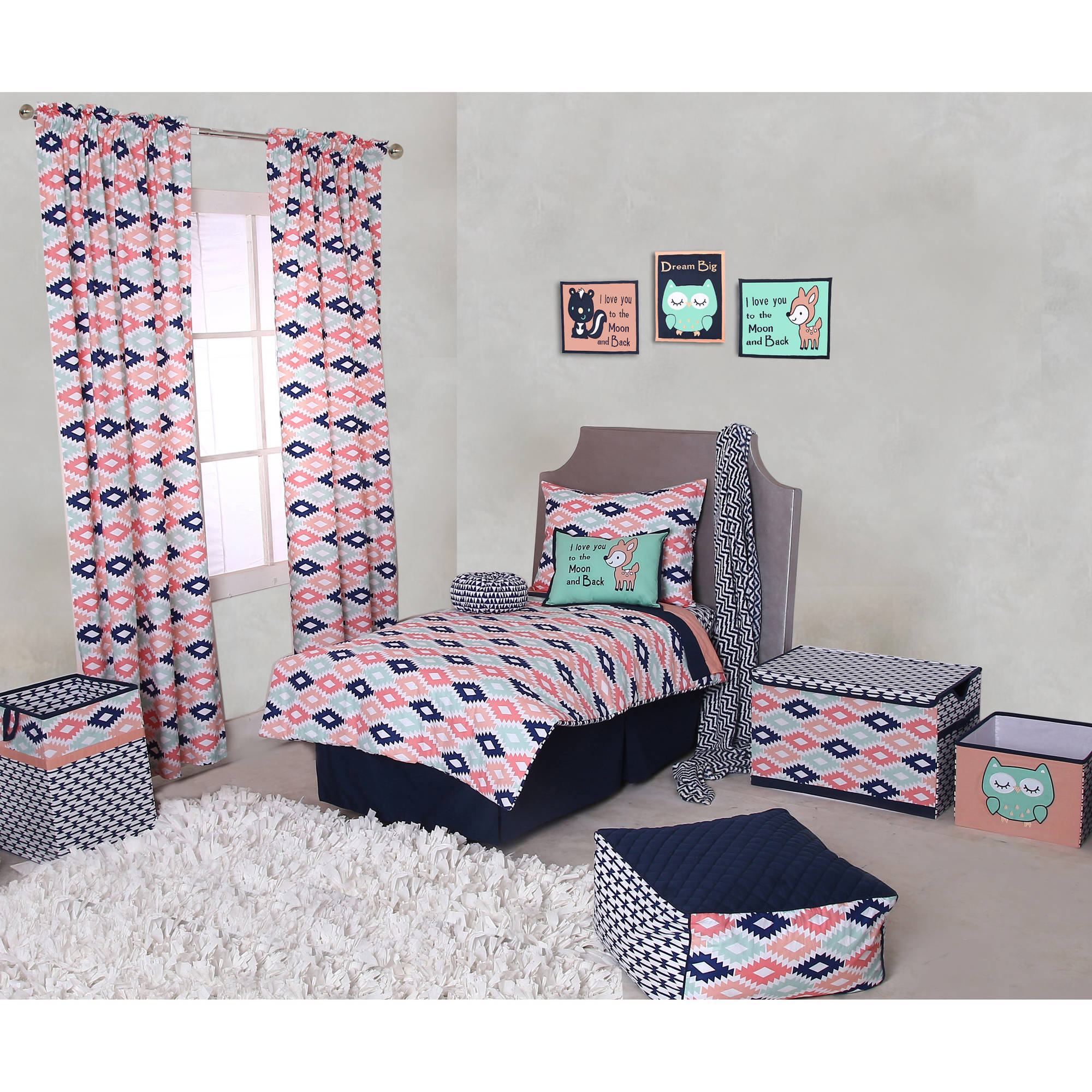 Bacati - Emma Aztec Coral/Mint/Navy 4-Piece Toddler Bedding Set 100% Cotton percale fabrics
