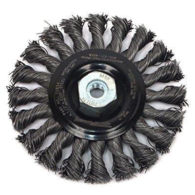 Forney 72834 Wire Wheel Brush, Industrial Pro Twist Knot with M10-by-1.50/1.25 Multi Arbor, 4-1/2-Inch-by-.020-Inch