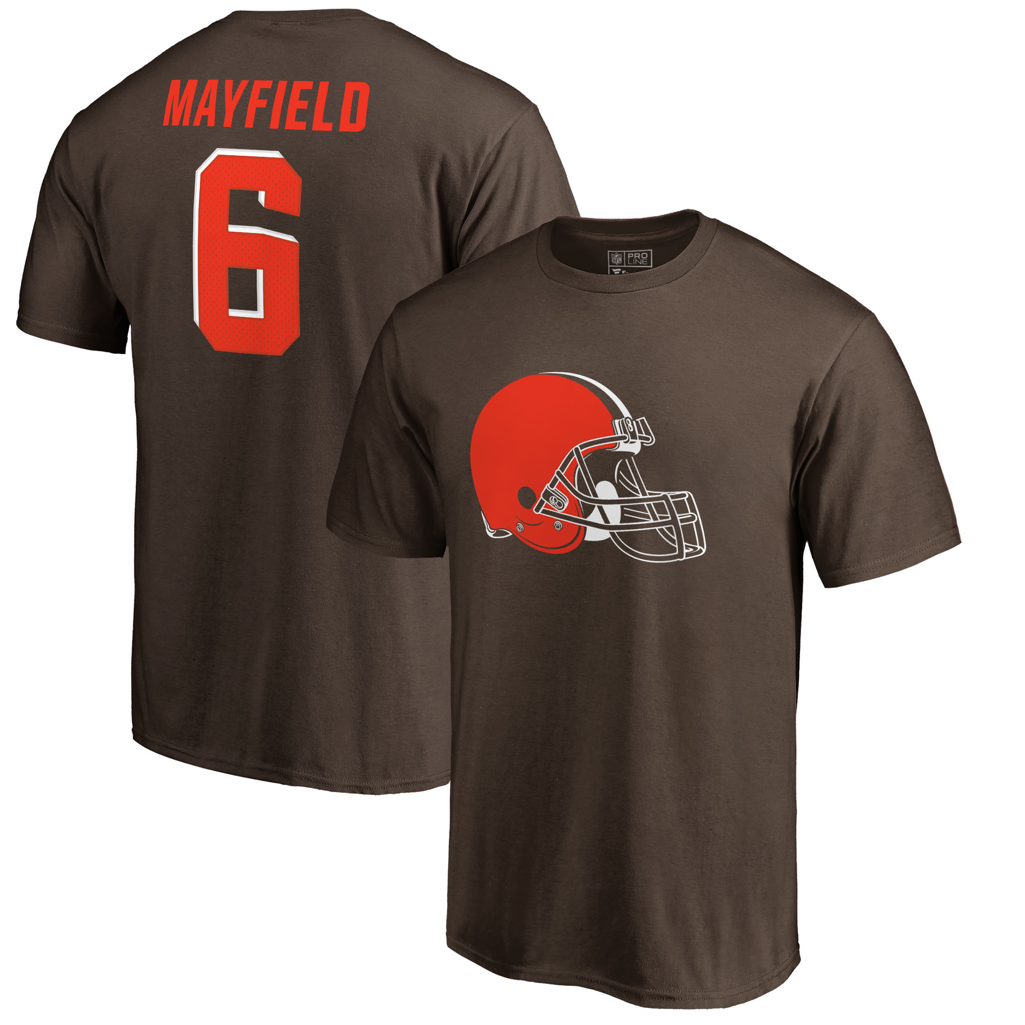 Baker Mayfield Cleveland Browns NFL Pro Line by Fanatics Branded Icon Name & Number T-Shirt - Brown