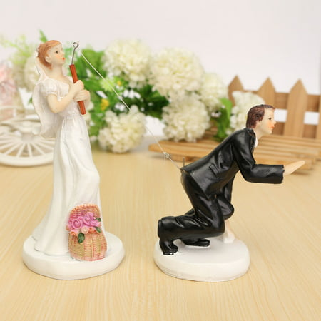 Wedding Cake Toppers - Fishing Bride and Groom Couple, Cake decoration Romantic Couple - Brunette Bride Cake Topper