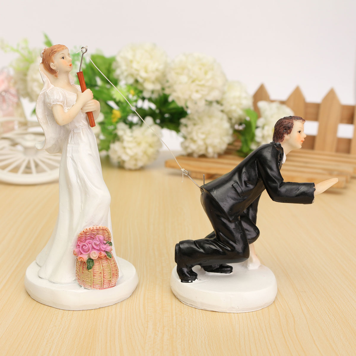 Wedding Cake Toppers - Fishing Bride and Groom Couple, Cake decoration Romantic Couple