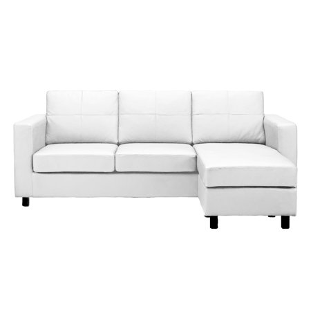 Modern reversible small space configurable bonded leather sectional sofa - Leather sectional sofas for small spaces minimalist ...