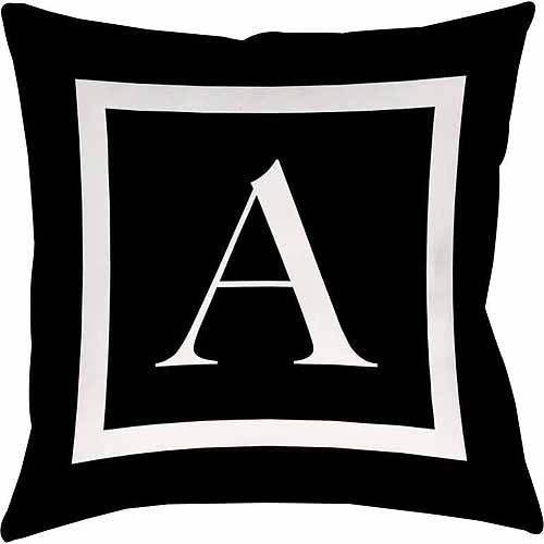 IDG Classic Block Monogram Decorative Pillow - Black