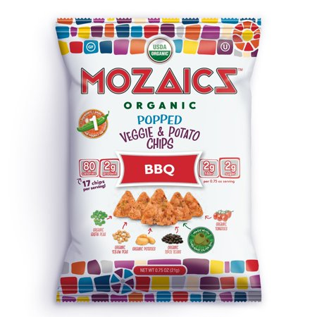Stall Snack (Mozaics Organic Popped Veggie & Potato Chips- Healthy snack~100 calorie snack, better than veggie straws or stix - gluten free - 0.75oz single serve bags (BBQ, 12-count) BBQ 12 Small Bags)