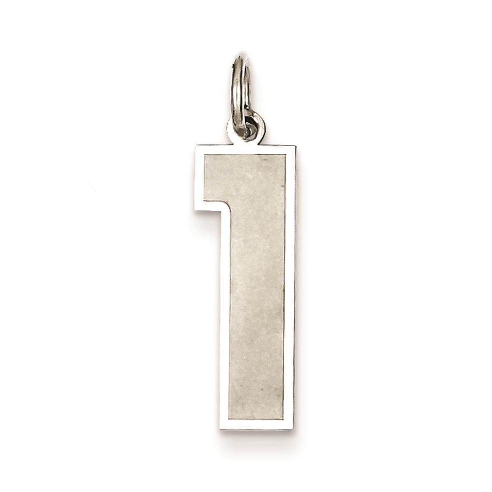 925 Sterling Silver Satin & Polished Large Number 1 Charm Pendant