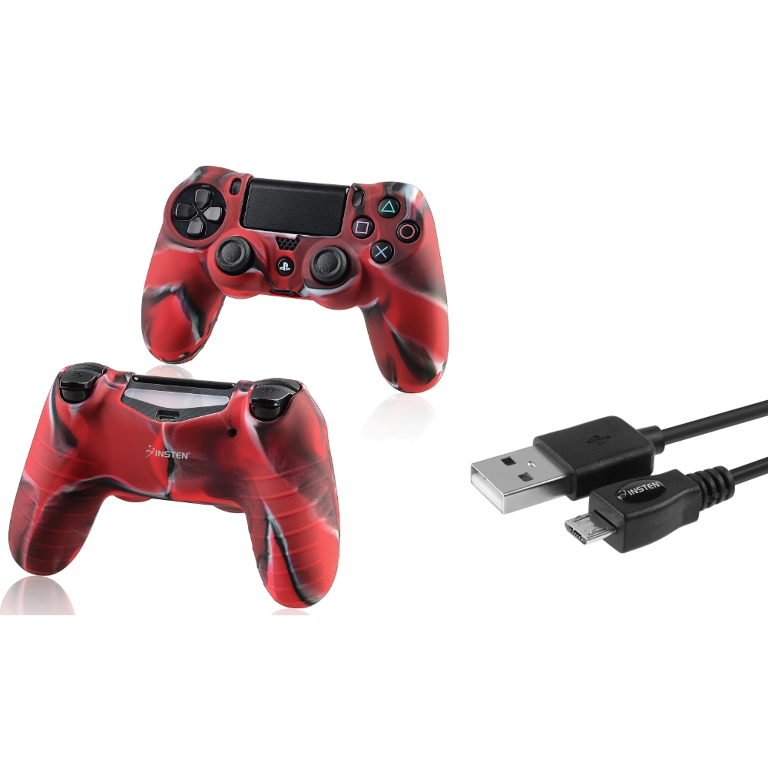 Insten Black 10FT Micro USB Charger Cable+Camouflage Navy Red Skin Case Cover for Sony PS4 Playstation 4 (2-in-1 Accessory Bundle)