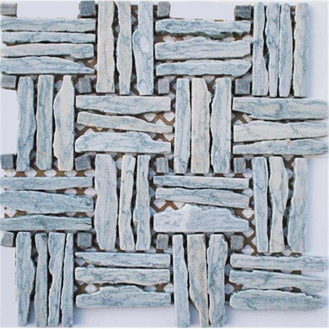Intrend Tile Basket Wave Natural Stone Landscape Light Blue Gray Mixed