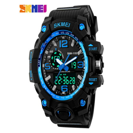 - SKMEI ABS + PU LED Military Waterproof Sports Watch Quartz Analog Digital  Man Wristwatch, PU Strap