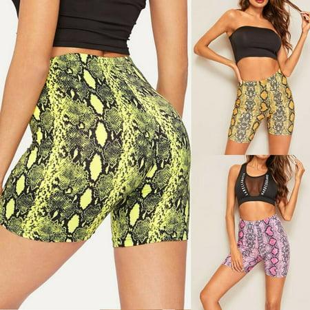 Shorts : Womens Clothing Yellow (Women Sports Yoga Shorts Push Up Snakeskin Gym Workout Fitness Casual Hot Pants)