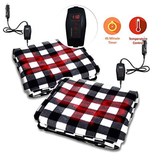 Zone Tech Car Mini Heated Travel Blanket Pad Red Plaid Premium Quality 12V Comfortable Heating Car Mini Blanket Pad Perfect for Winter Travels