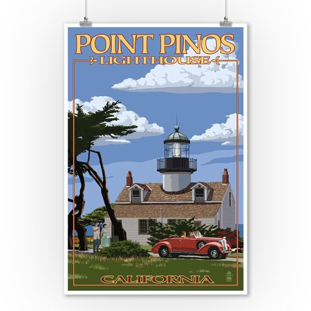 Point Pinos Lighthouse - Monterey, California - Point Pinos Lighthouse - Lantern Press Artwork (9x12 Art Print, Wall Decor Travel Poster)