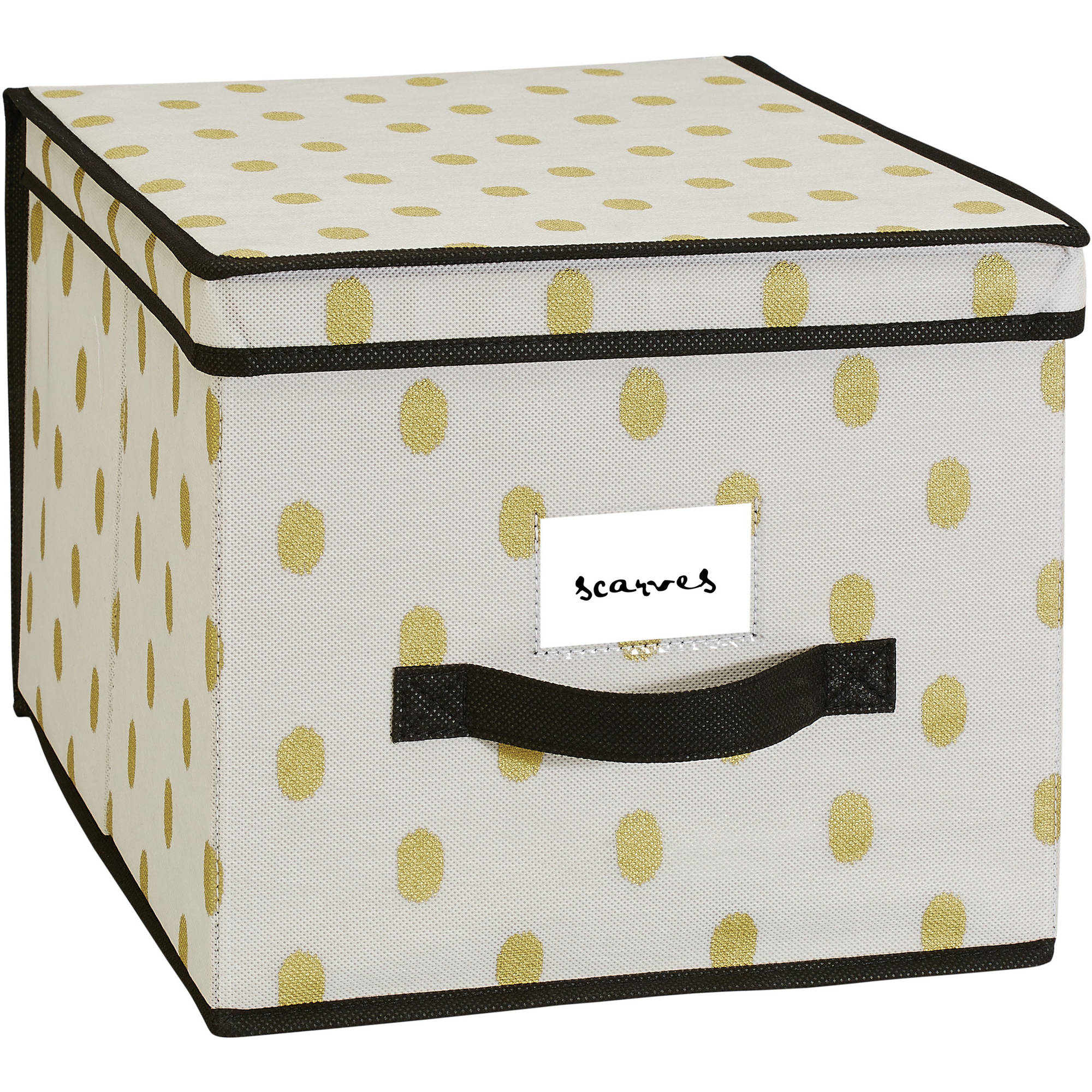 "NW Storage Box, 12"" x 16"" x 10"", White/Gold Dot"