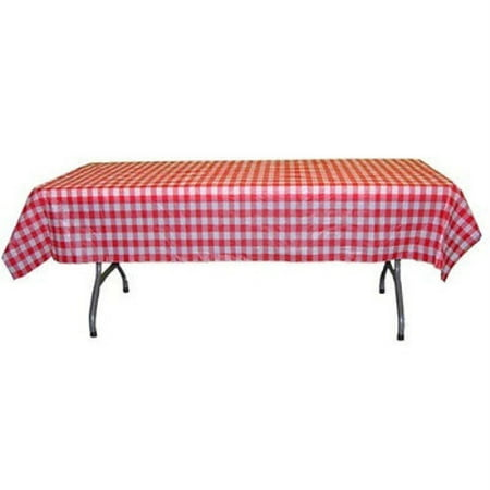 Premium 12 Pack Red & White Gingham Plastic Tablecloth, 108 x 54 Inch