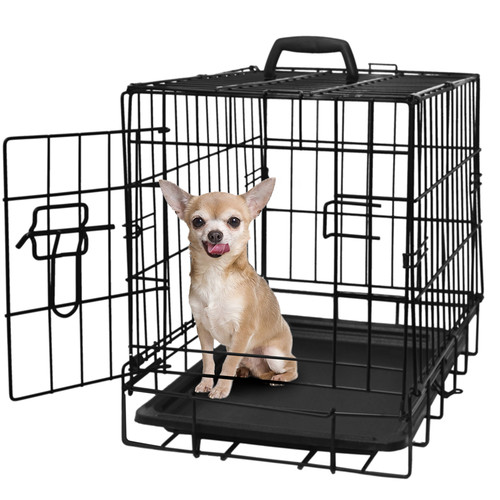 "OxGord 20"" Heavy Duty Foldable Single Door Dog Crate with Removable ABS Plastic Floor Tray, 20"" x 13"" x 16"""