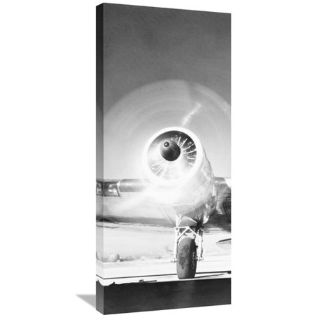 Global Gallery Triptych - Front View of Passenger Airplane - Left Panel Photographic Print on Wrapped Canvas