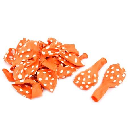 Unique Bargains Wedding Latex Dot Print Decor Round Balloons Orange 12 Inches 20pcs