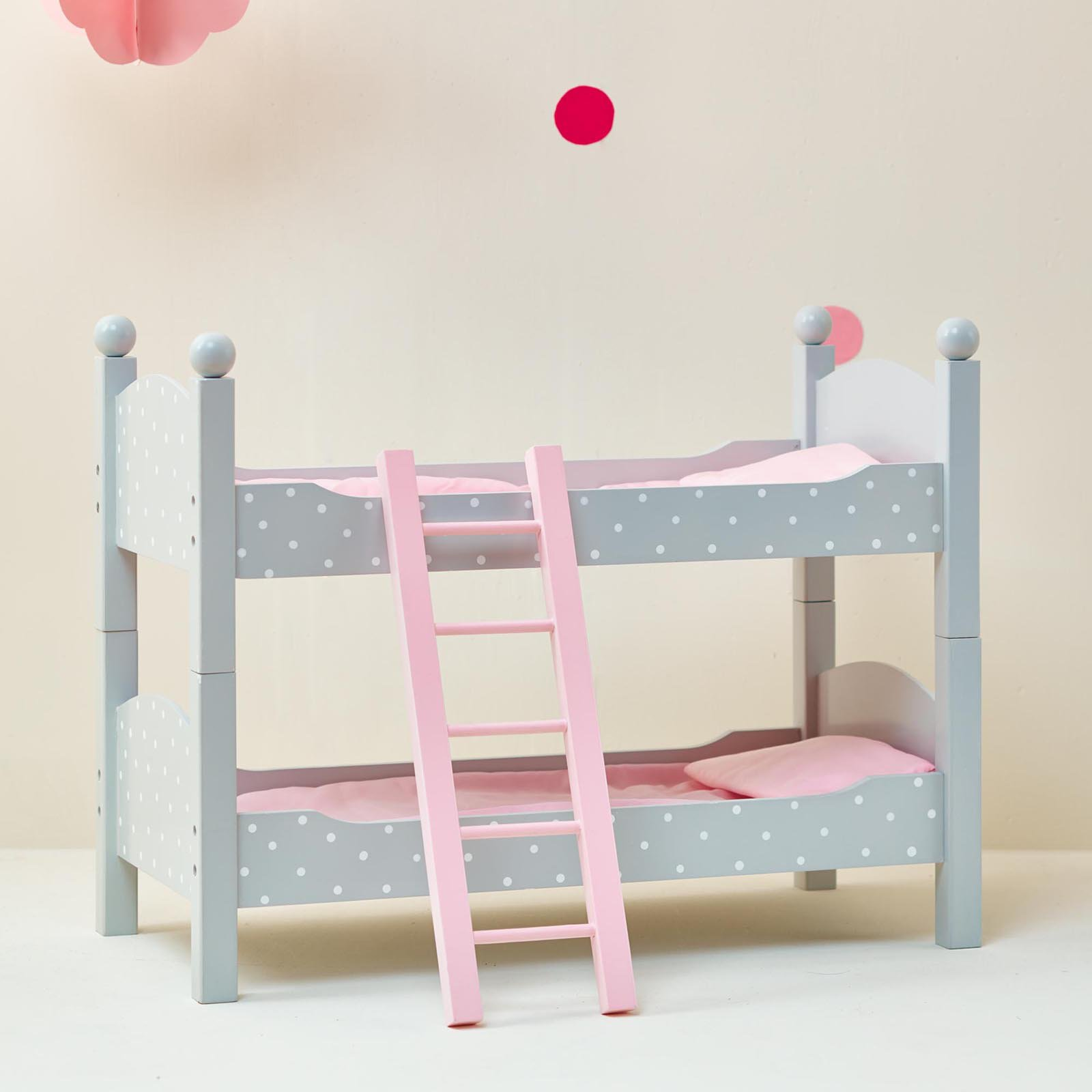 Olivia's Little World - 18 inch Doll Furniture - Double Bunk Bed (Grey Polka Dots)