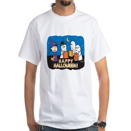 CafePress - The Peanuts Gang Happy Halloween White T Shirt - Men's Classic T-Shirts - Halloween Ganz