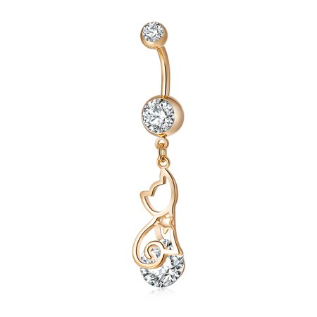Exquisite Hollow Cat Shape Belly Button Ring Body Jewelry Piercing Navel Umbilical Nail (Cat Belly Piercing)