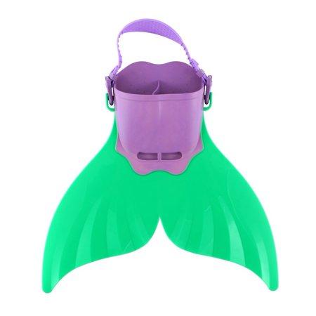 Adjustable Mermaid Flippers Swim Training Diving Foot Flipper Mermaid Swim Fin For Kids Children With Adjustable Strap  Green