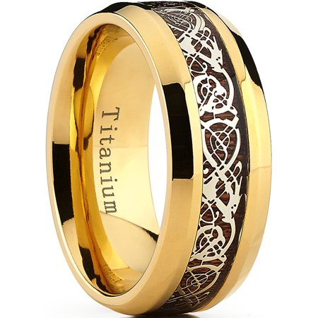 9MM Goldtone Titanium Ring Band with Dragon Design Over Real Wood Inlay, Comfort Fit Sizes 7 to 15 - Dragon Ring Jewelry