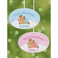 Personalized First Christmas Baby Reindeer Oval Christmas Ornament