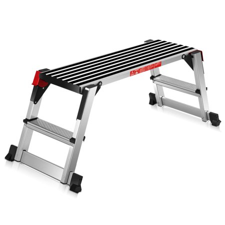 Aluminum Work Platform - Goplus 330lbs Aluminum Step Stool Folding Bench Work Platform Non-slip Drywall Ladder