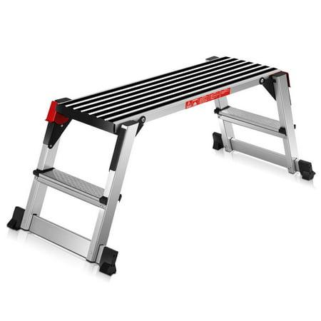 Goplus 330lbs Aluminum Step Stool Folding Bench Work