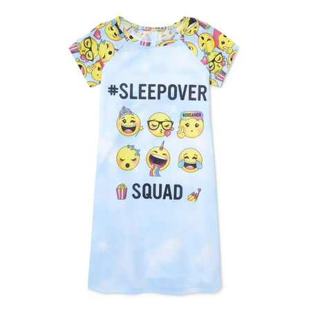 Girls Sleepover Set - Girl's Emoji Sleepover Squad Short Sleep Nightgown (Big Girl & Little Girl)