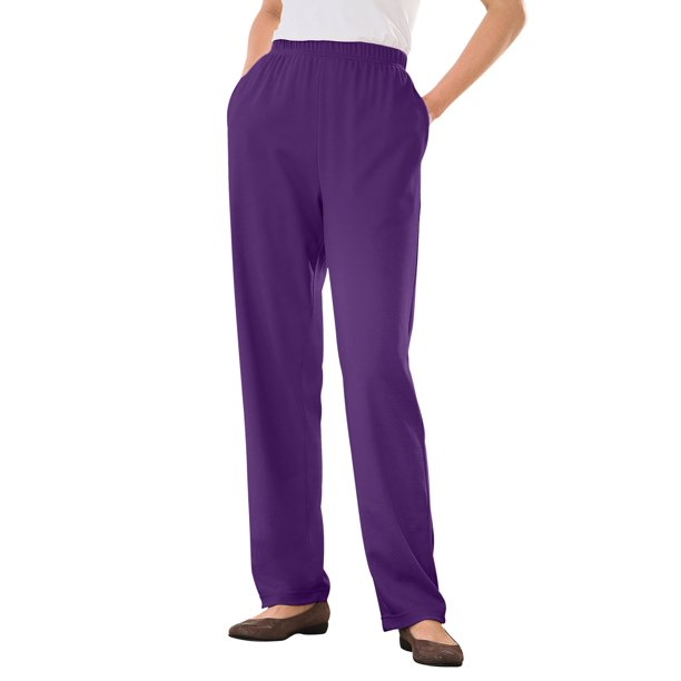 Straight Leg Pants Womens : Woman Within Women's Plus Size 7-Day Knit Straight Leg Pant Pant