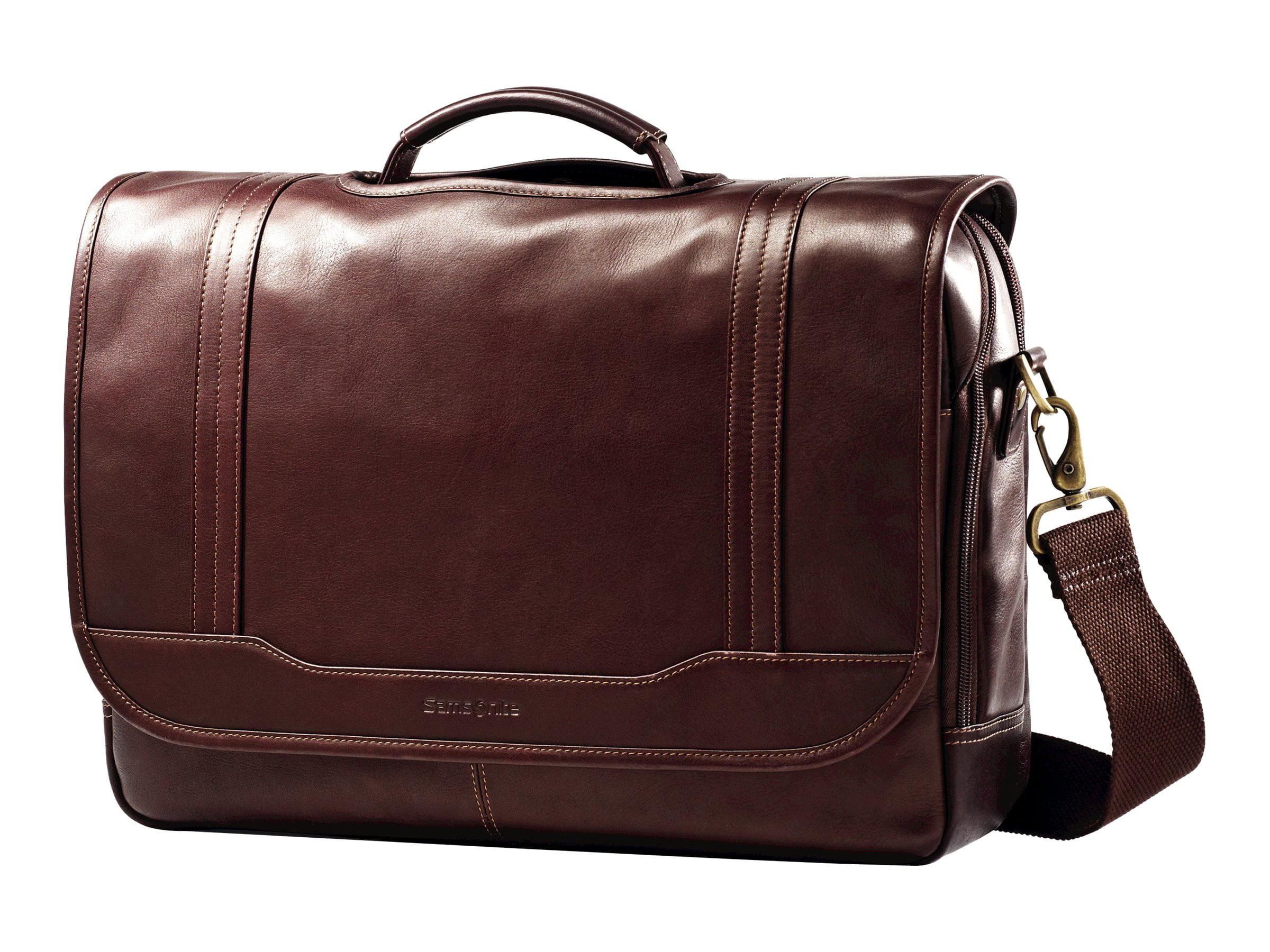 "Samsonite Columbian Leather Flapover Briefcase Notebook carrying case 15.6"" brown by Samsonite"