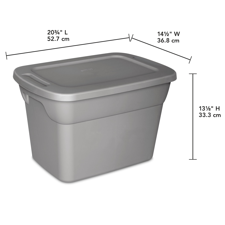 Sterilite, 10 Gal /38 L Tote Box, Steel