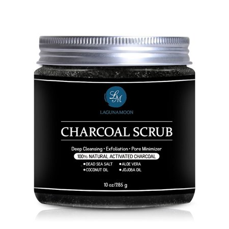 Activated Charcoal Scrub,Natural Body Scrub and Facial Scrub for Deep Cleansing, Exfoliation, Pore Minimizer 10oz,Improve The Texture, Tone & Appearance Of Your Skin ()