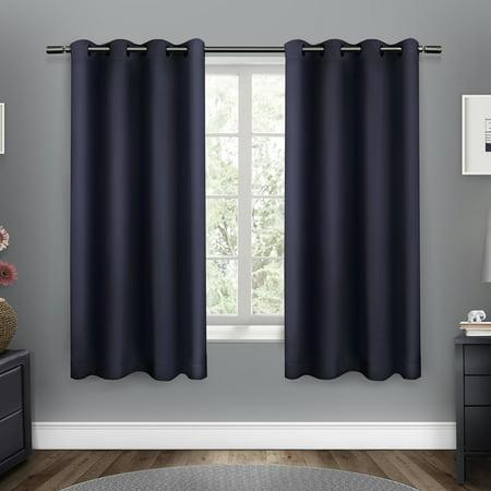 Petite Washed Linen - Sateen Woven Blackout Grommet Top Window Curtain Panel Pair