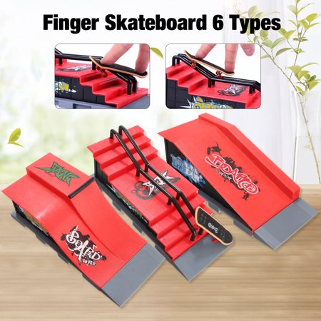 6 Types Mini Skateboard Ramps Parts Kit Sports For Finger Board Kids Teenagers Toy Game Model Set