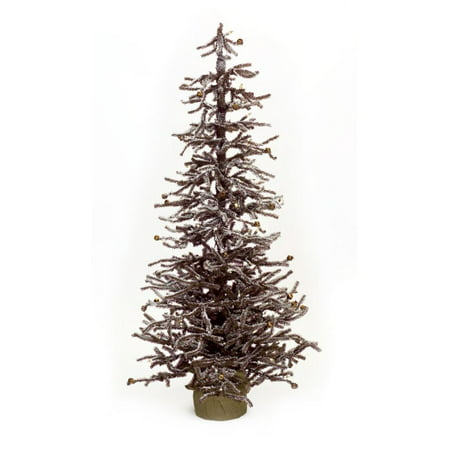 "48"" LED Lighted Brown Snowy Mini Christmas Twig Trees with Gold Bells (Gold Twig Tree)"