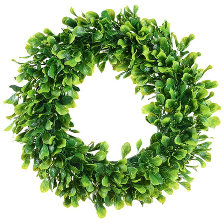 Fake Boxwood Wreath (Coolmade Artificial Green Leaves Wreath - 15