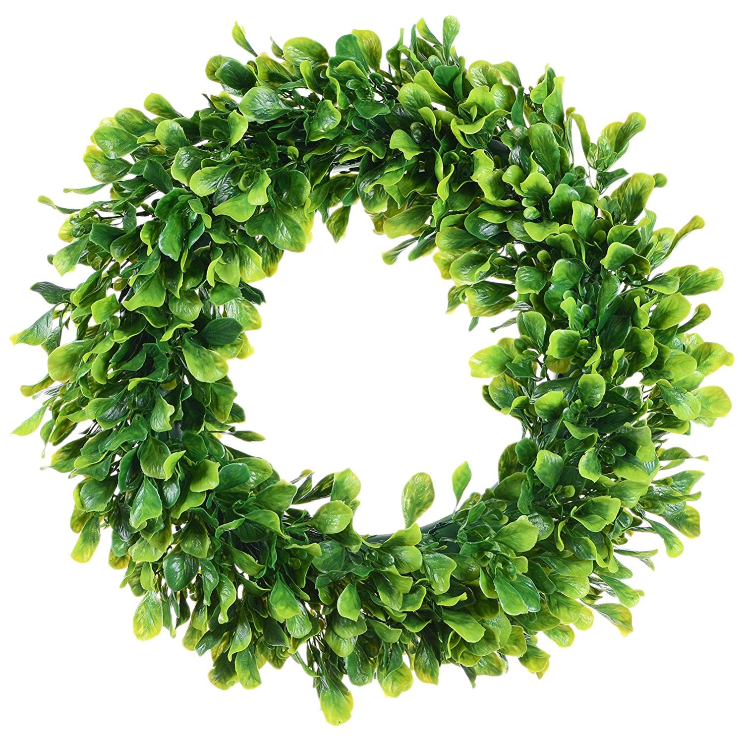 """Coolmade Artificial Green Leaves Wreath - 15"""" Boxwood Wreath Outdoor Green Wreath for Front Door Wall Window Party Décor"""