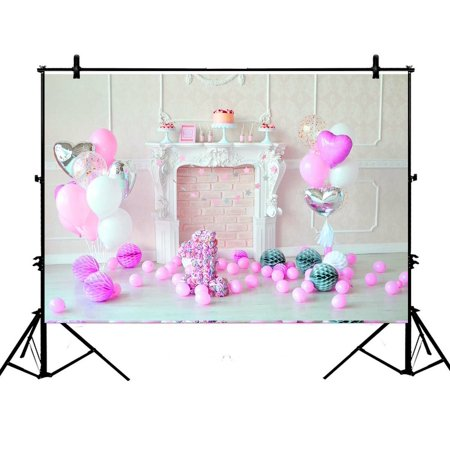 GCKG 7x5ft Pink Birthday Flowers 1st Birthday Pink Balloons Polyester Photography Backdrop Studio Prop Photo Background - image 4 de 4