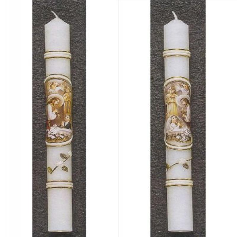 First Communion Candle - Cromo NB Images - 12in., Boy