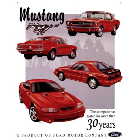Ford Mustang 30 Year Tribute Tin Sign - 12.5x16
