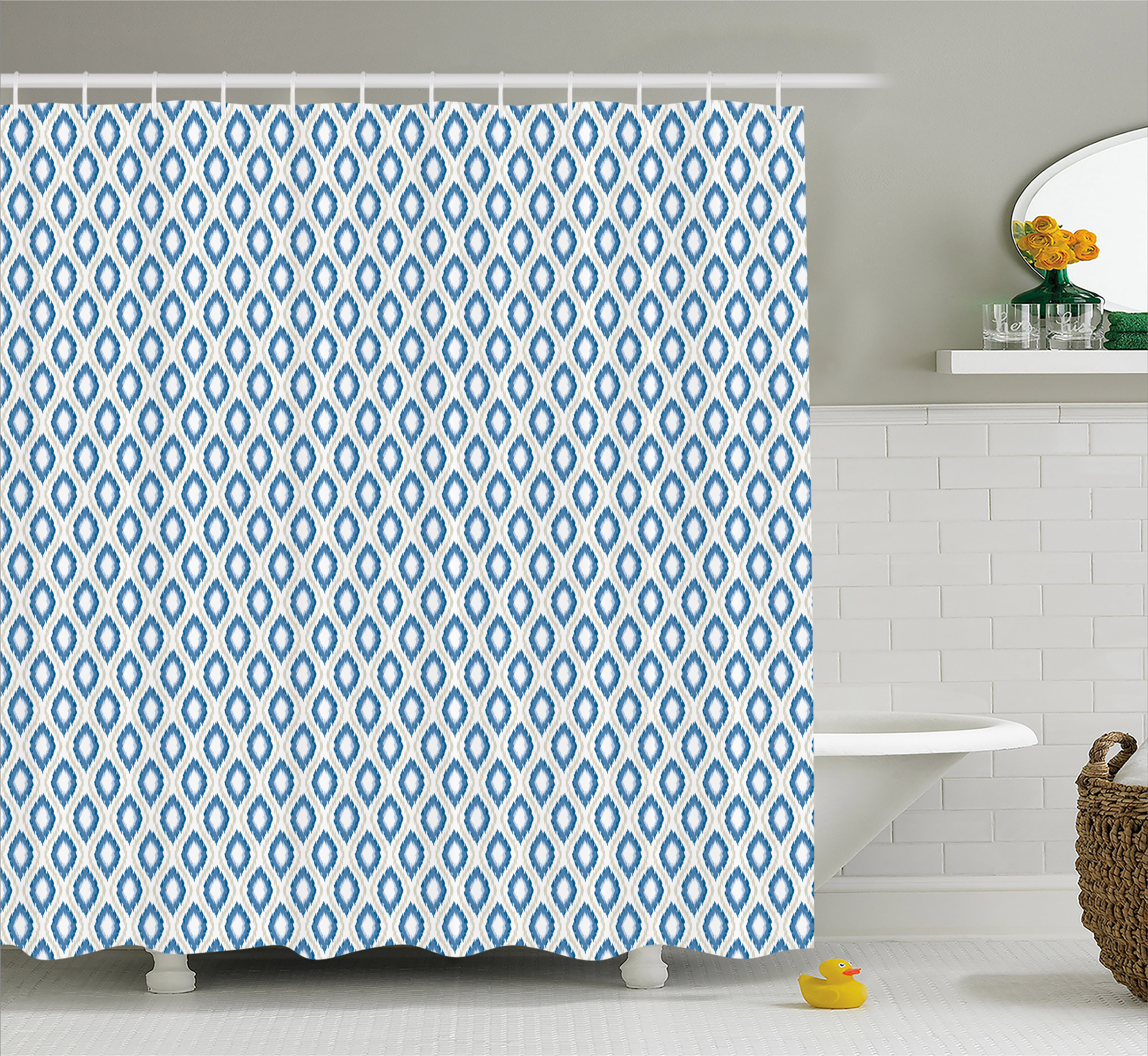 Ikat Shower Curtain, Nautical Inspired Abstract Geometrical Shapes Rhombus Lines Squares Pattern, Fabric Bathroom Set with Hooks, 69W X 70L Inches, Blue Beige White, by Ambesonne